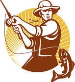 Volare xilografia retrò di pesca pescatore — Vettoriale Stock