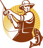 漁師釣りレトロな木版画を飛ぶ — ストックベクタ