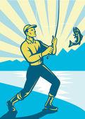 Πετούν αλιείας ψαράς ρετρό ξυλογραφία — Διανυσματικό Αρχείο