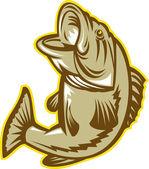 Largemouth Bass Fish Jumping Retro — Stock Vector