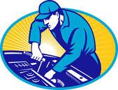 Auto Mechanic Car Repair Retro — Stock Vector