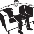 Man Sitting On Couch Chair — Stok Vektör