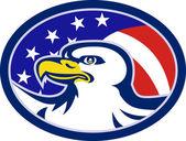 American Bald Eagle Stars Stripes Flag — Stock Vector