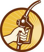 ガス燃料ポンプ ノズルを持っている手します。 — ストックベクタ