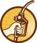 Hand som håller gas bränsle pump munstycke — Stockvektor