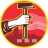 Hand Holding Hammer Factory Retro — Stock Vector