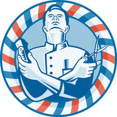 Barber With Clipper Hair Cutter and Scissors — Vector de stock