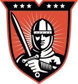Cavaliere crociato con scudo spada — Vettoriale Stock