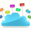 Cloud icon with signs of domain names — Photo #8477755