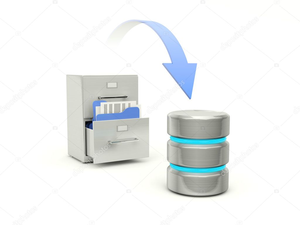 Copying files from archive to data base — Stock Photo #8949924