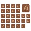 Stock Vector: Wooden Alphabet Icon Set