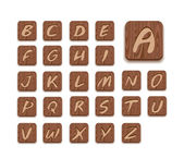 Wooden Alphabet Icon Set — Stock Vector