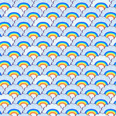 Rainbow and Purple Clouds Seamless Pattern — Stock Vector