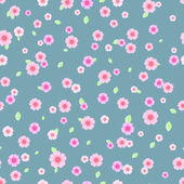 Seamless Pattern with Pink and White Flowers — Stock Vector