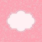 Tarjeta de invitación rosa con flores — Vector de stock
