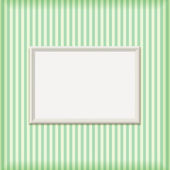 White Empty Ribbed Frame on Striped Wall — Stock Vector