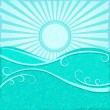 Background with Sea Wave sand Blue Sun — Stock Vector