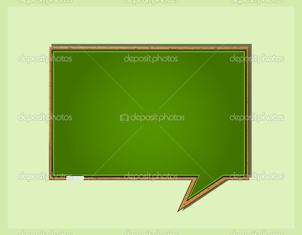 Bubble Speech in Form of Green Wooden School Blackboard. Vector Icon — Stock Vector #10406101