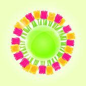 Зеленая Земля планета с тюльпан цветы — Cтоковый вектор