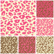 Pink Cheetah Print Seamless Pattern Set - Stock Vector