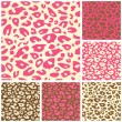 Stock Vector: Pink Cheetah Print Seamless Pattern Set
