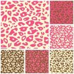 ピンクのチーター プリントのシームレスなパターン ・ セット — ストックベクタ