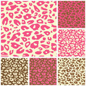 Pink Cheetah Print Seamless Pattern Set — Stock Vector