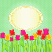 Invitation Card with Bunch of Colorful Tulip Flowers — Stock Vector