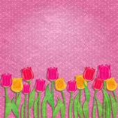 Gele en rode tulip flower op oude roze behang — Stockvector