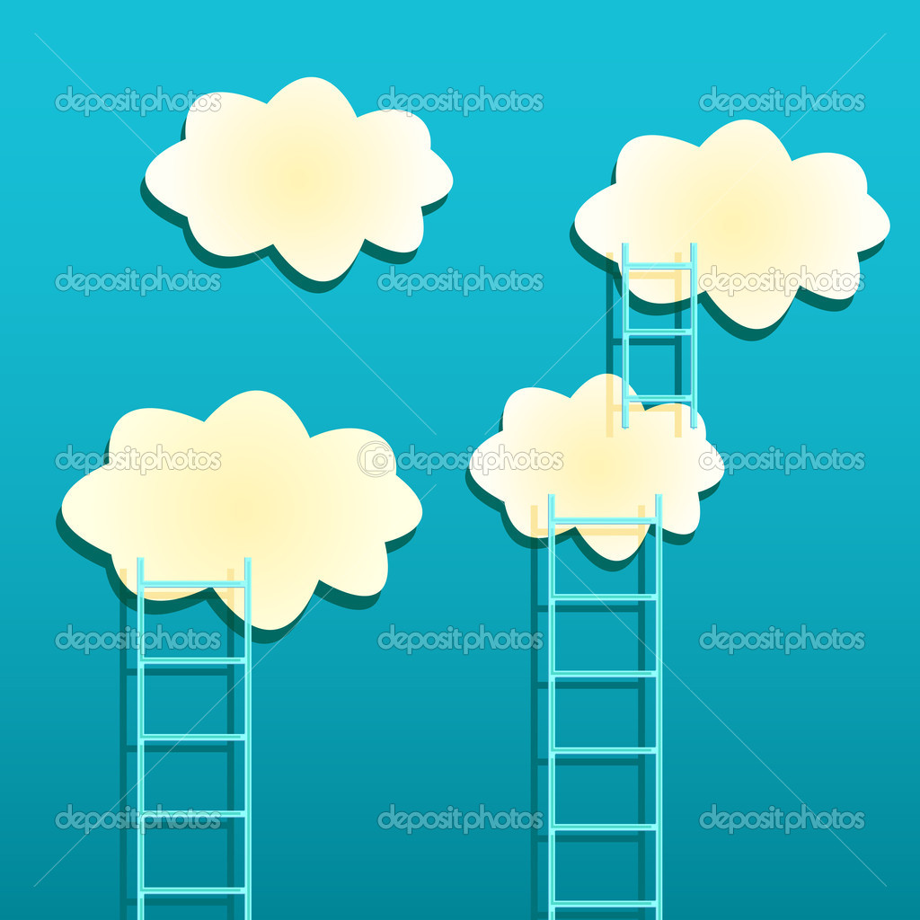 Yellow Clouds with Ladders on Green Background. Achievement Concept — Stock Vector #10576151