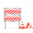 Cones and striped barrier — Stock Vector