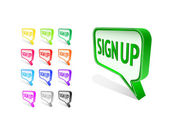 Bubble Sign Up Icon Set — Stock Vector