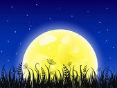Enorme luna amarilla con el prado de hierba — Vector de stock