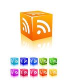 Cubic rss icon set — Stock Vector
