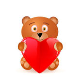 Icon of Bear Toy With Red Heart — Stock Vector