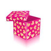 Pink Open Gift Box With Gold Hearts — Stock Vector