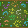 Stock Vector: Chalkboard with cartoon faces