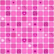 Seamless pattern mosaic with pink heart — Stock Vector
