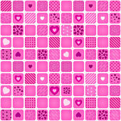 Seamless pattern mosaic with pink heart — Wektor stockowy