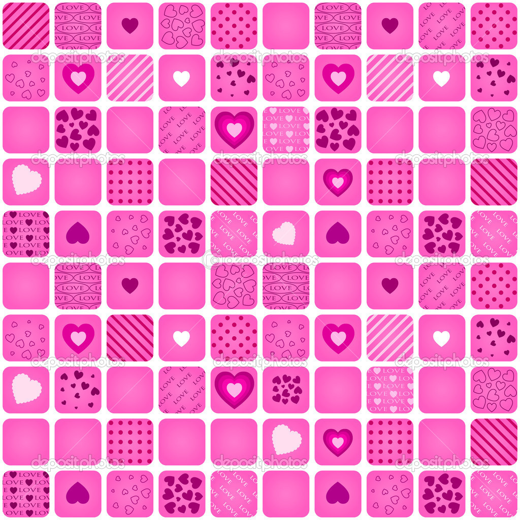 Seamless pattern mosaic with pink heart. Vector valentine illustration.  Stock Vector #8647700