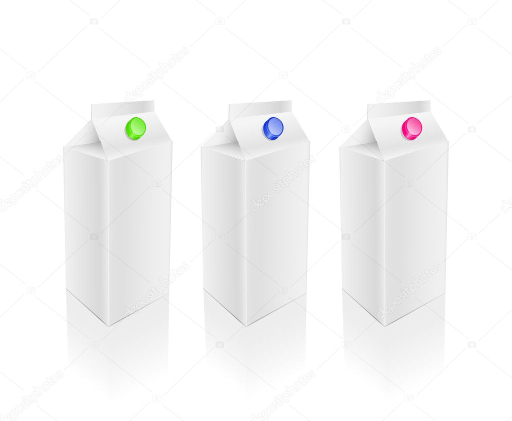 Blank white milk juice packages set isolated on white background — Stock Vector #8657145