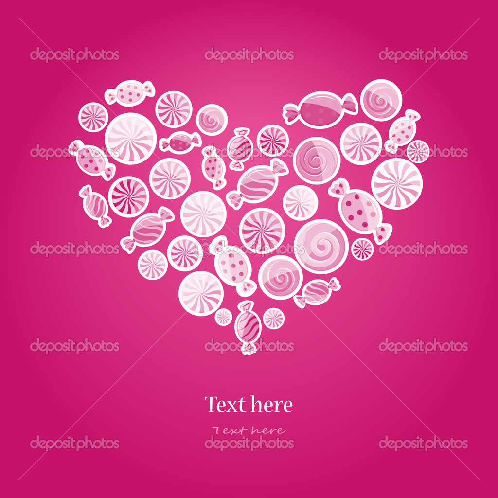 Magenta pattern with sweet candy. Vector illustration in heart shape on dark background.  Stock Vector #8962995
