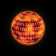 Royalty-Free Stock Vector Image: Orange Red Planet with Zero One Digits