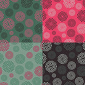 Set of Abstract Circle Seamless Pattern — Stock Vector