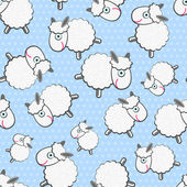 Cute White Sheeps Seamless Pattern — Stock Vector