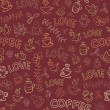 Seamless Coffee Pattern with Love Word — Stock Vector #9298918