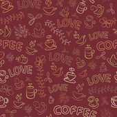 Seamless Coffee Pattern with Love Word — Stock Vector