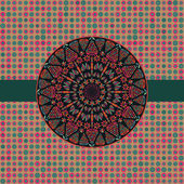 Yuvarlak simetri elemanı ile karanlık kartı — Stok Vektör