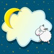 Stock Vector: Cute Card with Sheep Clound and Moon