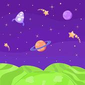 Alien Planet. Cosmic Landscape — Stock Vector